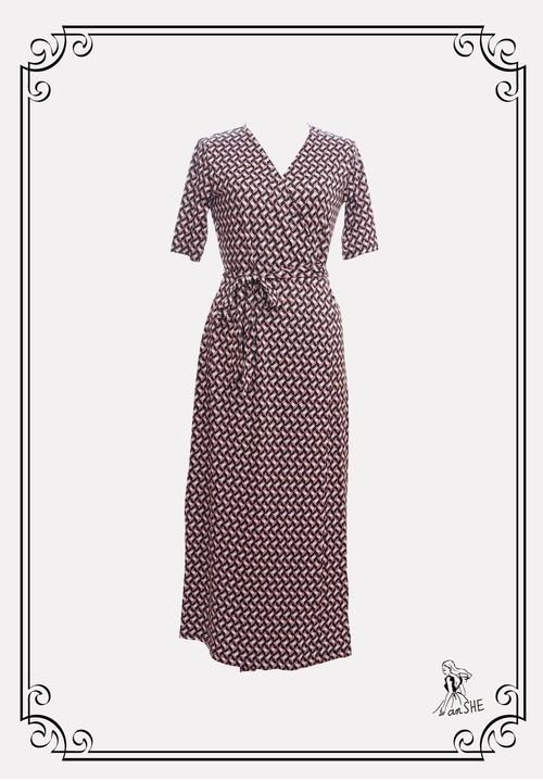 Geometric Pattern Wrap Dress / 幾何学模様のラップワンピース