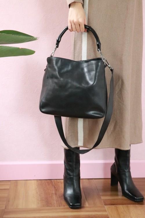 old GUCCI black bamboo 3 way bag