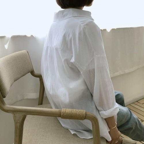長袖 シャツ レギュラー丈 ストライプ ナチュラル はおりもの 透け感 薄手 着回し 上級コーデ ゆる感 体系カバー 【お取り寄せ】