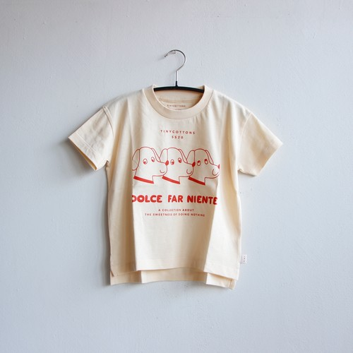 《TINYCOTTONS 2020SS》DFN DOGS TEE / light cream × red
