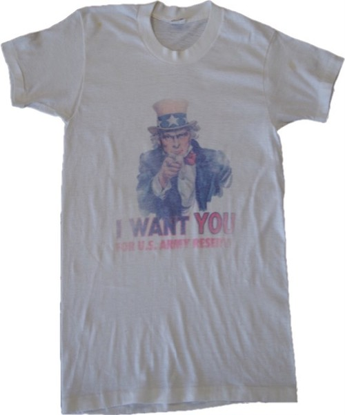 80's JC Penney Uncle Sam Print T-Shirts(白)