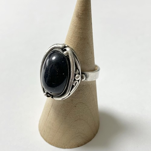 Vintage  Art Nouveau Style 875 Silver Gold Stone Ring Made In Poland