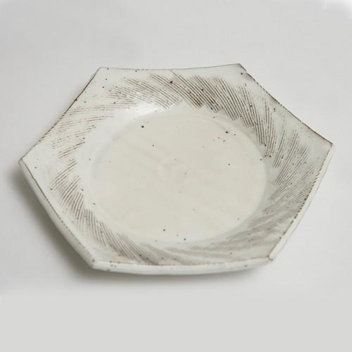粉引クシ目六角皿
