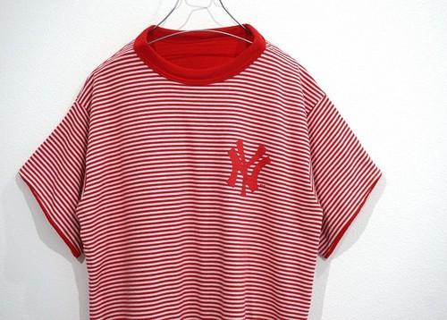 1980's NEW YORK YANKEES リバーシブルTシャツ レッド×ホワイト 実寸(M位) ヤンキース