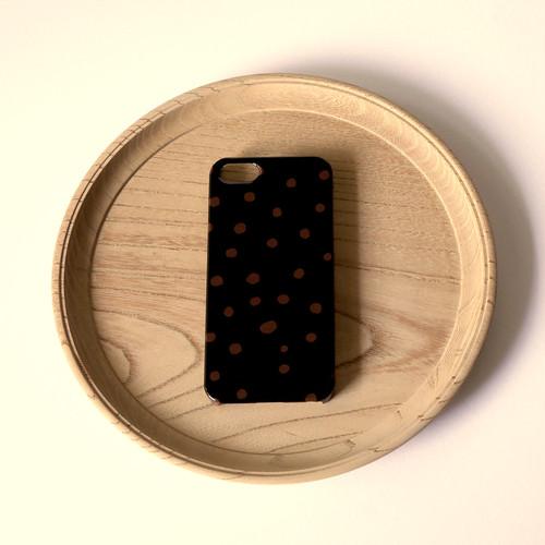 【iPhone / Android 各機種専用タイプ】側表面印刷*ハード型*スマホケース「fuwa fuwa dot ( black & brown )」● 受注生産