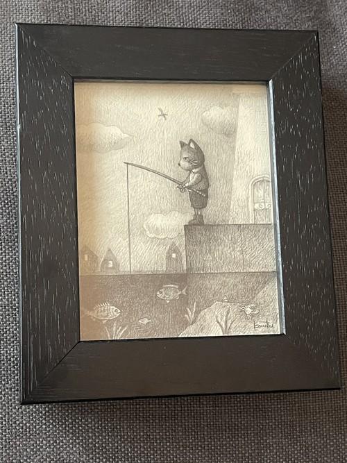 こまつたかし 「釣りをする猫」 鉛筆画