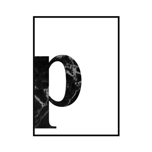 """""""p"""" 黒大理石 - Black marble - ALPHAシリーズ [SD-000543] A4サイズ ポスター単品"""
