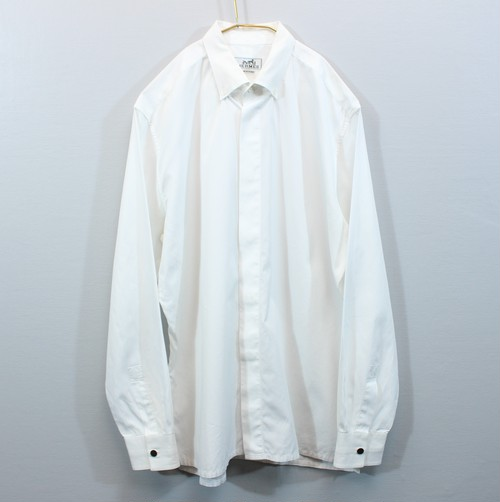 .HERMES SERIE BUTTON WHITE DRESS LONG SLEEVE SHIRTS MADE IN FRANCE/エルメスセリエボタン長袖ホワイトドレスシャツ 2000000029979
