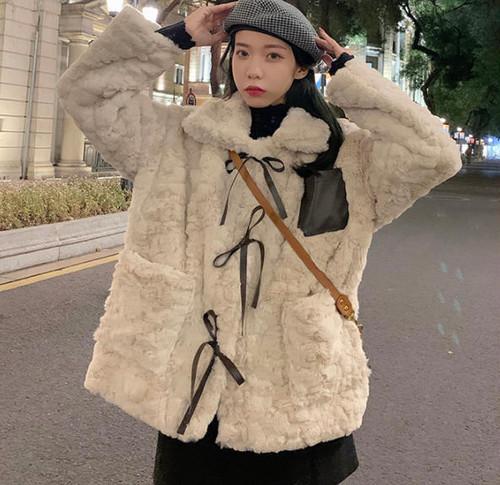 ファージャケット アウター リボン ゆったり ふわふわ ガーリー 大人可愛い 韓国 オルチャン ファッション