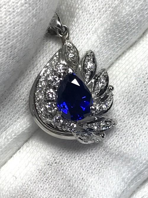 【3日以内返品可】濃く深いブルー☆ブルーサファイア 1.00ct ダイヤモンド  Pt900/850 ネックレス【リフレッシュメント(新品仕上げ・補修・洗浄等済)】