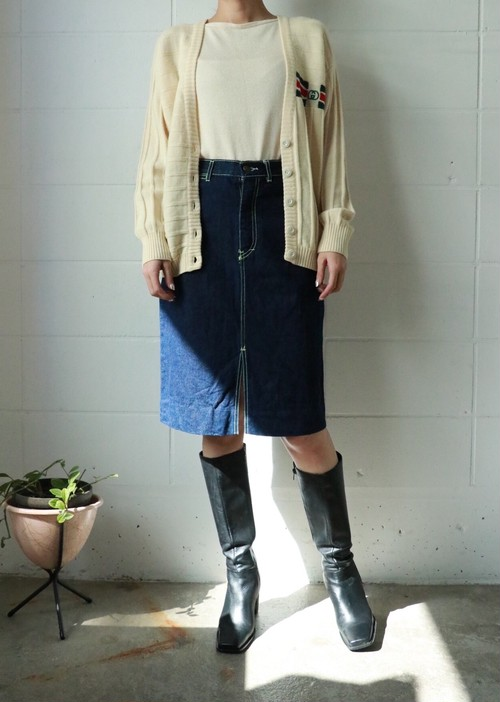 80's tiger embroidery denim skirt