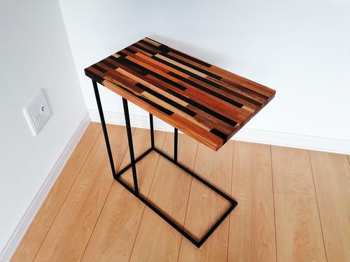 【寄木】コの字型アイアン サイドテーブル