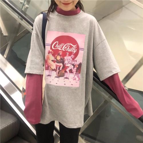 【トップス】学園風配色ハーフネックプリント長袖Tシャツ