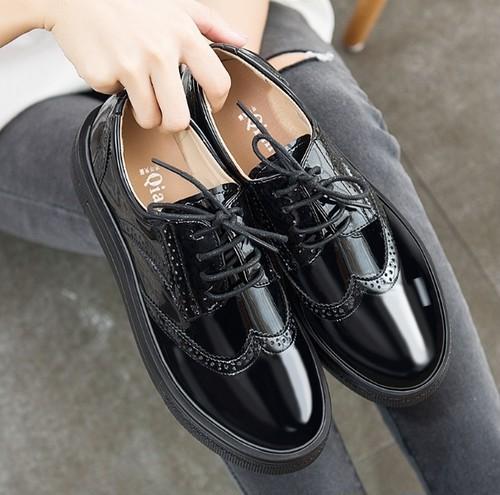 革靴 オックスフォード 小さいサイズ エナメル メンズライク おしゃれ 韓国