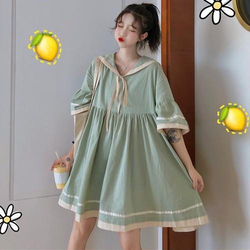 【ワンピース】春コート高品質キュートセーラーカラー配色文芸スタイルワンピース