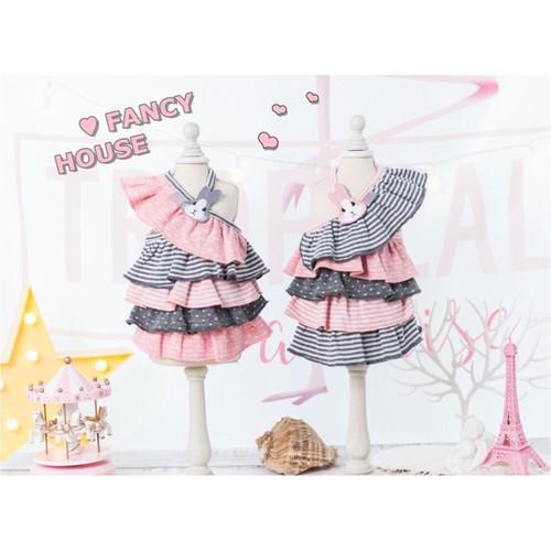 【犬服】ウサギワッペン付き ワンショルダーレイヤードドレス