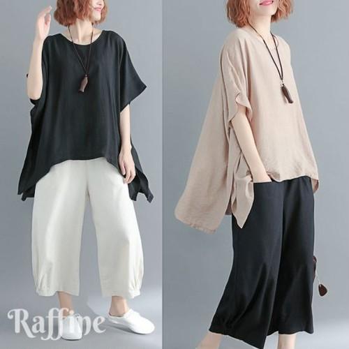t0037006トップスオーバーサイズ Tシャツ 半袖  ゆったり ブラック ベージュ 大人かわいい かわいい 冬 秋冬 顔合わせ 韓国ワンピース