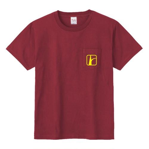 ロードトリップロゴ胸ポケTシャツ バーガンディ×イエロー