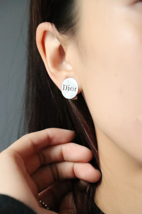 Christian Dior silver color earrings