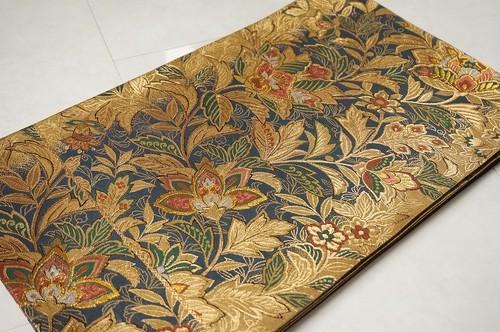 袋帯 正絹 金糸 花柄 リユース 039