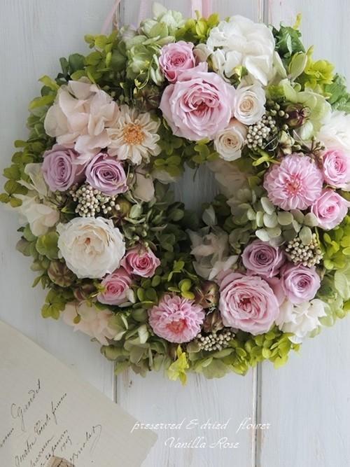 春のお祝いリース/スィートピンク/直径22cm/プリザーブドフラワー/リース/結婚のお祝い・初節句/【即日発送】【お届け日指定可能】