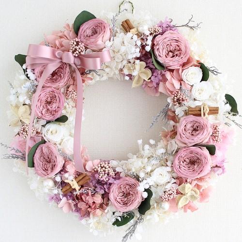 プリザーブドフラワー リース-L 「モーブピンクのオールドローズと白いアジサイのロマンティックな豪華リース」/ピンク・白/直径32cm