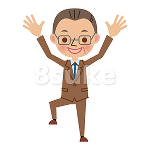 イラスト素材:バンザイをする中年のビジネスマン(ベクター・JPG)