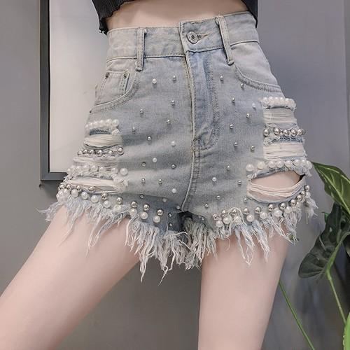 【ボトムス】ファッション合わせやすいセクシーハイウエストビーズスリムワンピースショートバンツ27042078