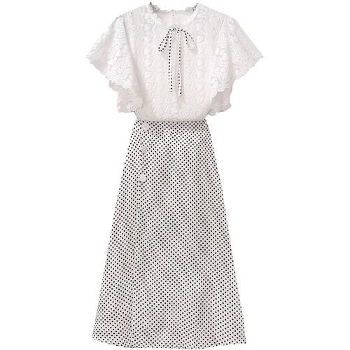 【set】気質溢れる エレガント2点セットレースリボントップス+ドット柄スカート