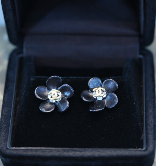 .CHANEL 02A FLOWER DESIGN COCO MARC EARRING MADE IN FRANCE/シャネルフラワーデザインココマークピアス2000000027654
