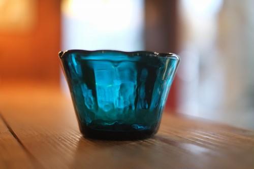 【倉敷ガラス・小谷栄次】◆◆◆小鉢<縁輪花>◆◆◆小谷ブルー◆◆◆