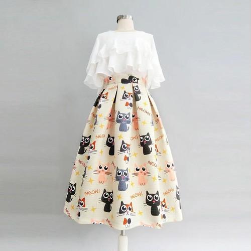 【set】大人可愛いセットアップフリルデザイントップス+カートゥーンスカート