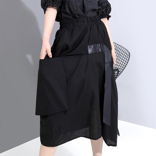 スカート 大きいポケット 無地 Aライン 韓国ファッション レディース ロング ハイウエスト ウエストゴム 大人カジュアル 大人可愛い ガーリー