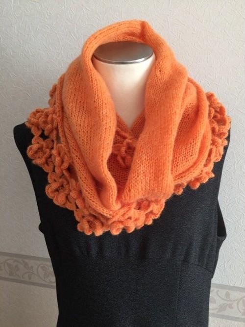 スヌード ウール&モヘア オレンジ 手編み