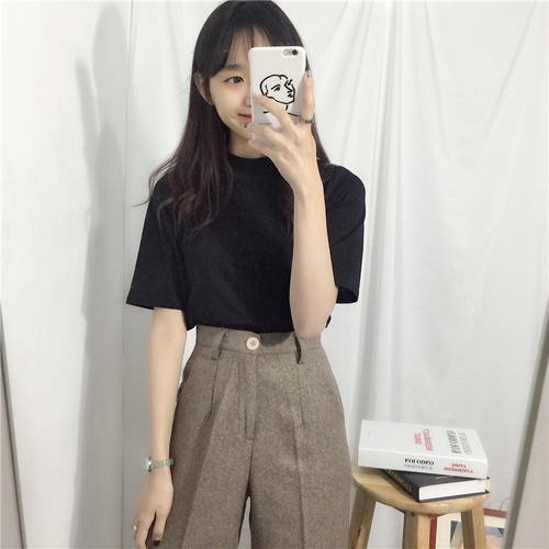 【トップス】無地コットン半袖プルオーバーTシャツ