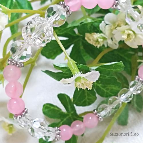 【ブレスレット】ジェイドデザインブレスレット-ピンクジェイド-(bracelet-004)