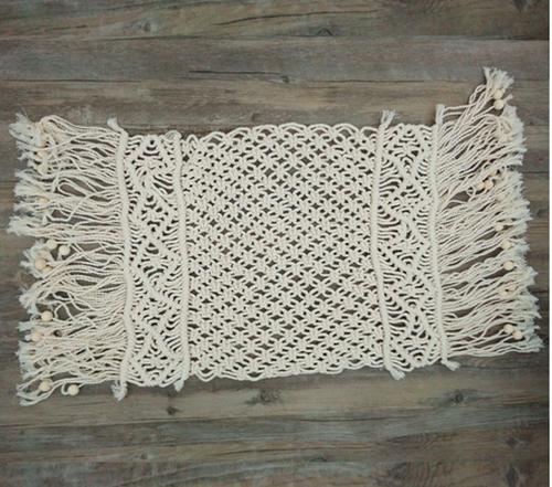 手織りのコットンタッセル布40x85cm