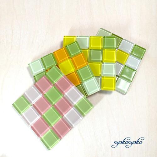 ガラスタイルコスーターセット(春の花グリーンセット)
