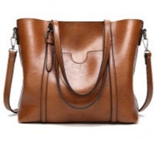 Leather Bag Bucket Shoulder Bag Solid Handbag Large Capacity Top Handle Bag ショルダーバッグ レザー ソリッドカラー ハンドバッグ (HF99-9581531)