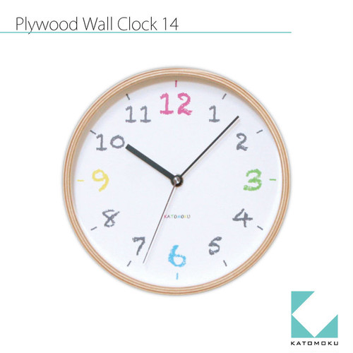 KATOMOKU plywood wall clock 14 km-85RC 電波時計