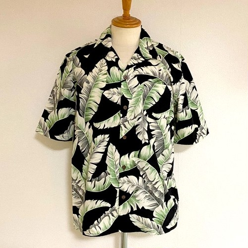 Cotton Rayon Vintage LEAVES Open Collar Half Sleeve Shirts Black