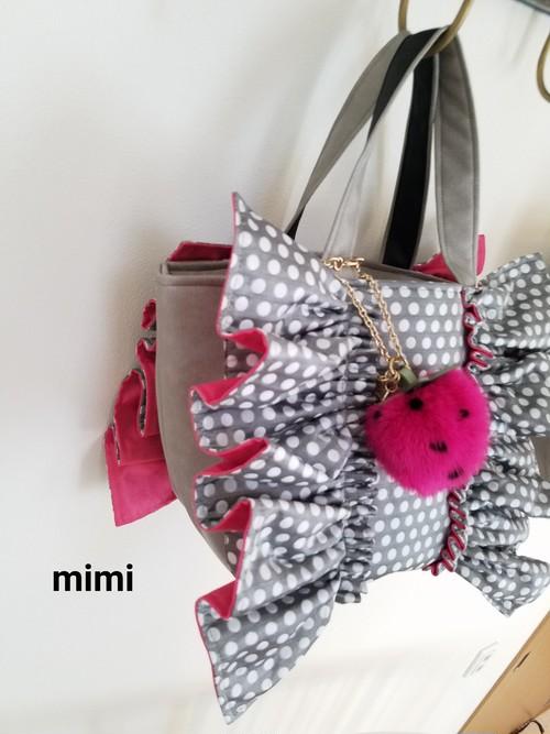 mimi☆フリルバッグ☆フリルトート☆シルバードット☆マチSサイズ