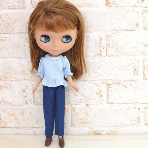 22cmドールサイズ 紺色のパンツ(リカちゃん、ブライスなど)