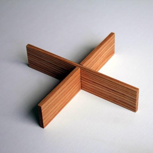 白木タモ 5寸三段重 四つ仕切り