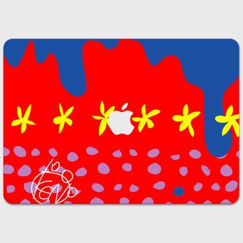 Macにぴったりおしゃれなタッキー柄 アカアオキイロ  MacBookステッカー MacBook 12inch