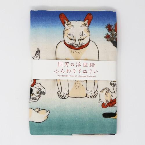 猫手拭い(歌川国芳のふんわりてぬぐい)猫うちわ