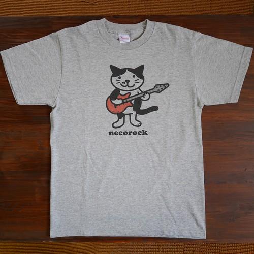 ねこロックTシャツ 杢グレー