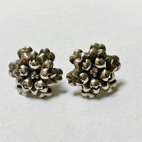 Vintage Sterling Floral  Earrings Made In Mexico
