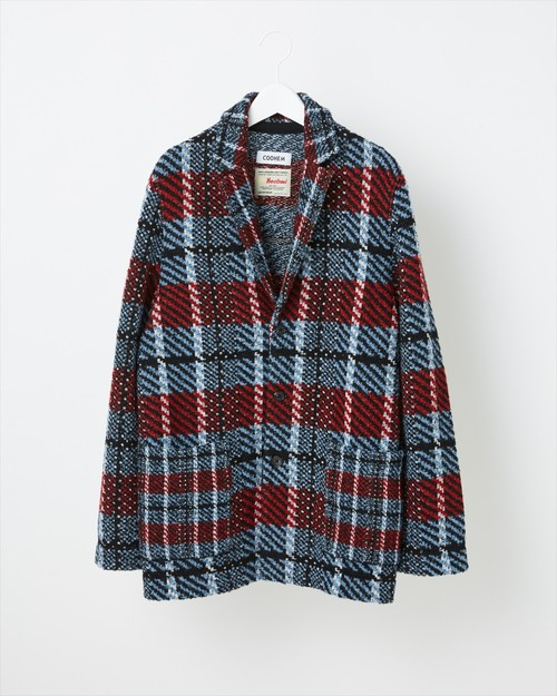 【COOHEM MEN】VINTAGE CHECK TWEED JACKET:ブルー