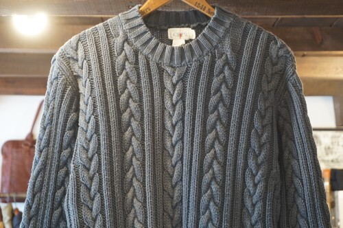 90's J.CREW navy-blue cable cotton Sweater